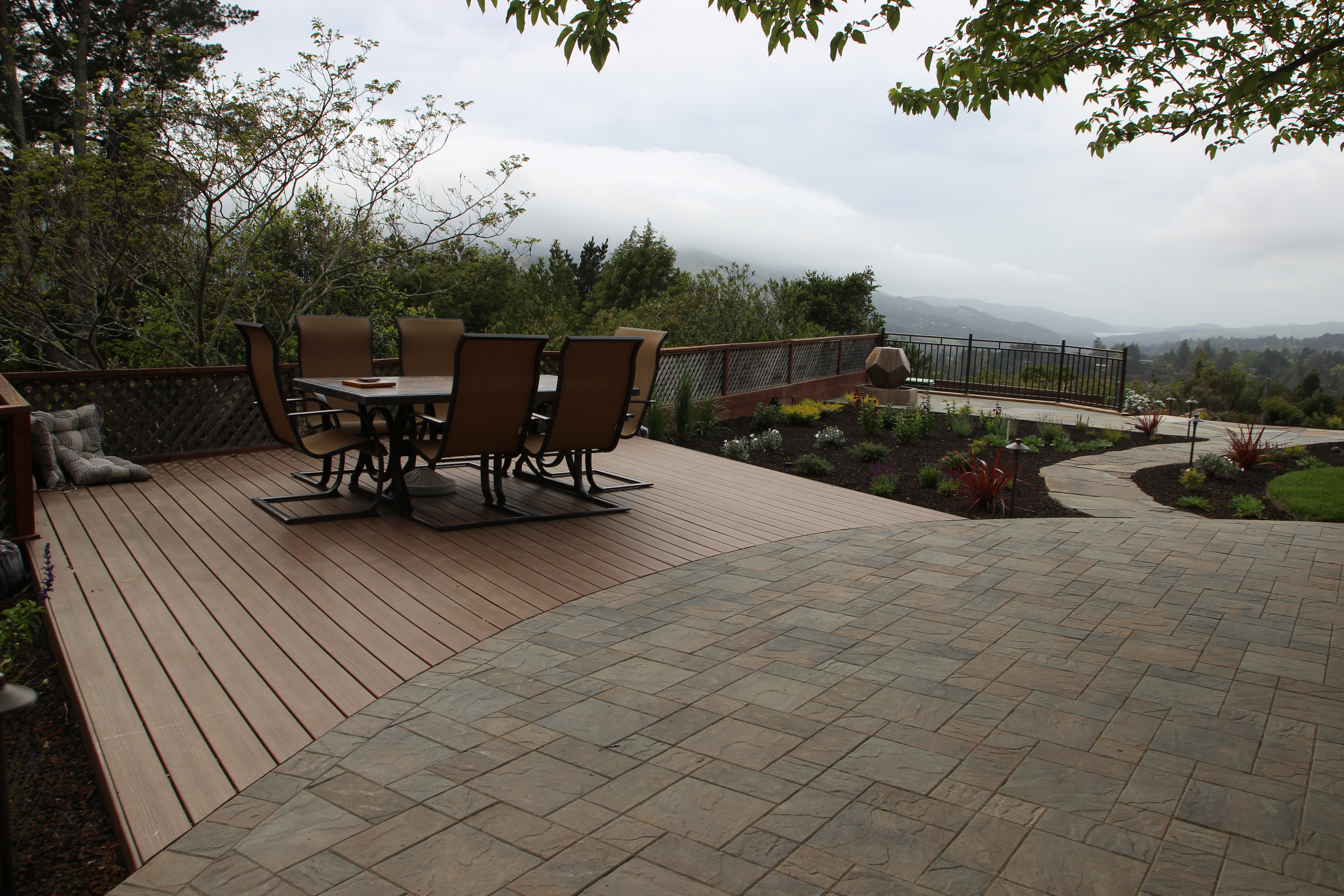 Basalite Pavers and TimberTech Deck- color Pacific Walnut |